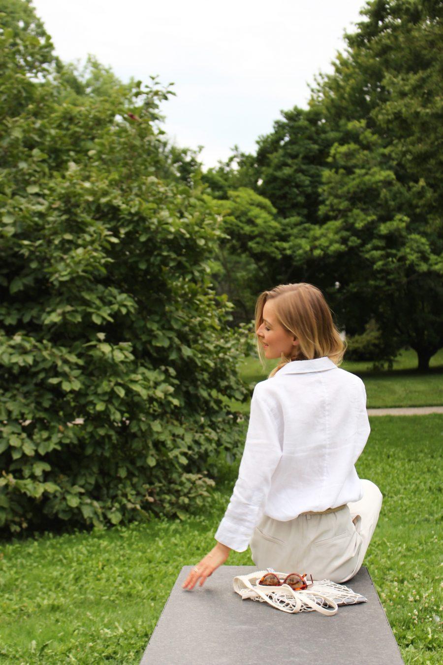 white linen basic shirt