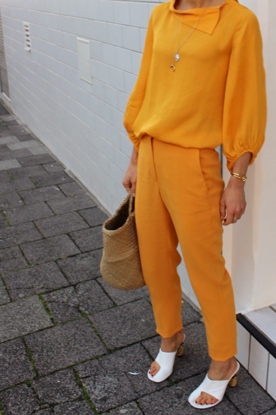 massimo dutti orange silk blouse