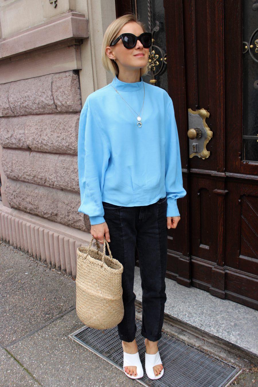 Bluse Baby Blue hellblau H&M Trend