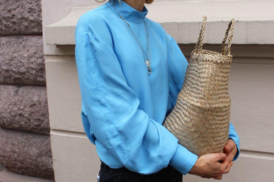 hellblaue Bluse H&M Trend