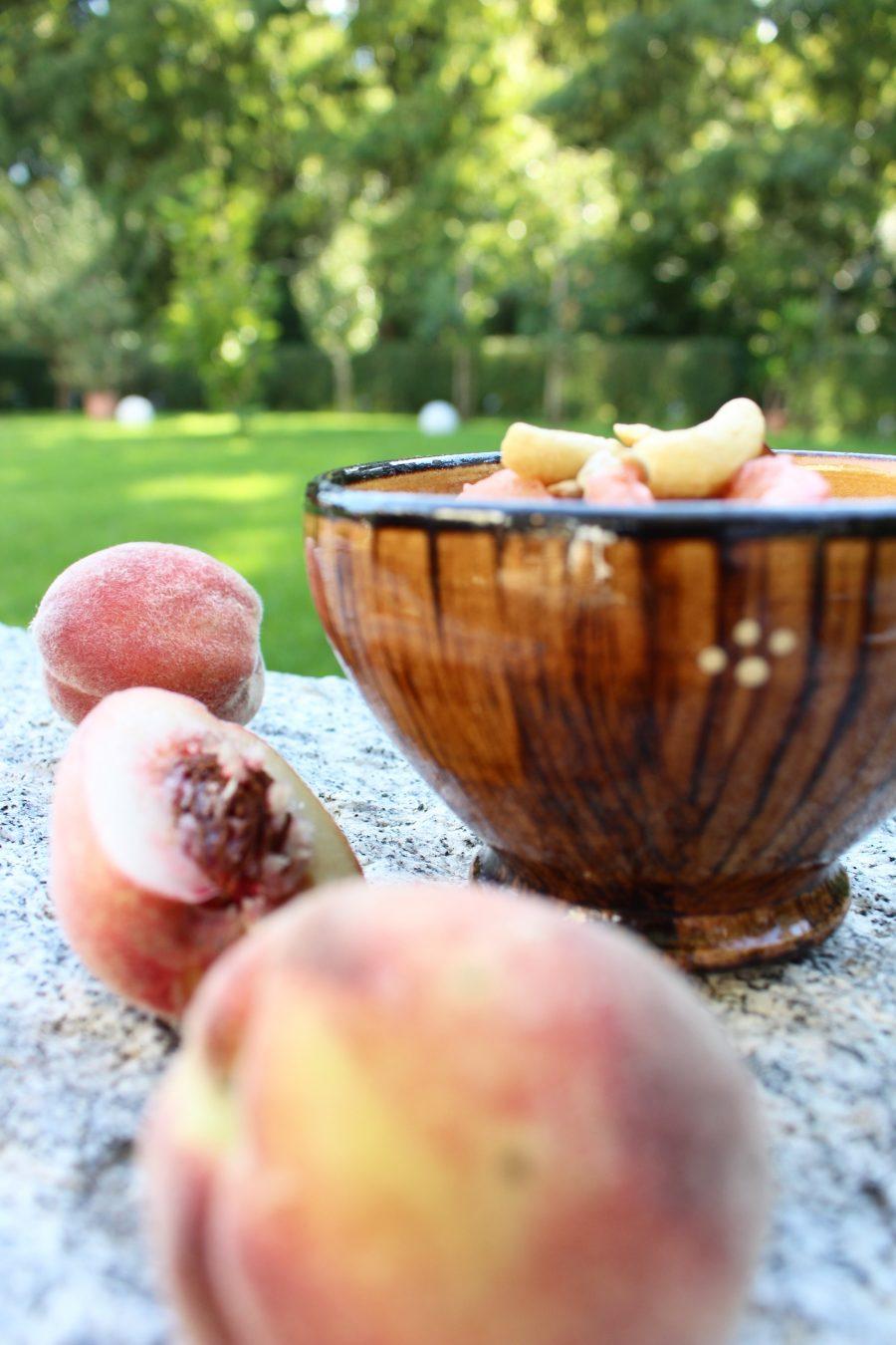Milchreis mit gebratenem Ingwer Pfirsich