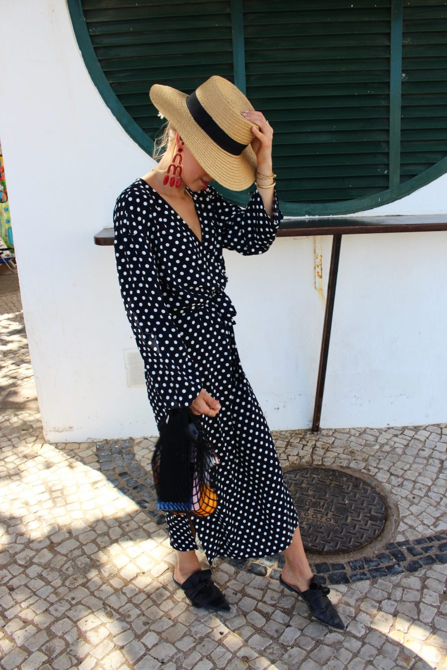 Mango polka dots dress blue