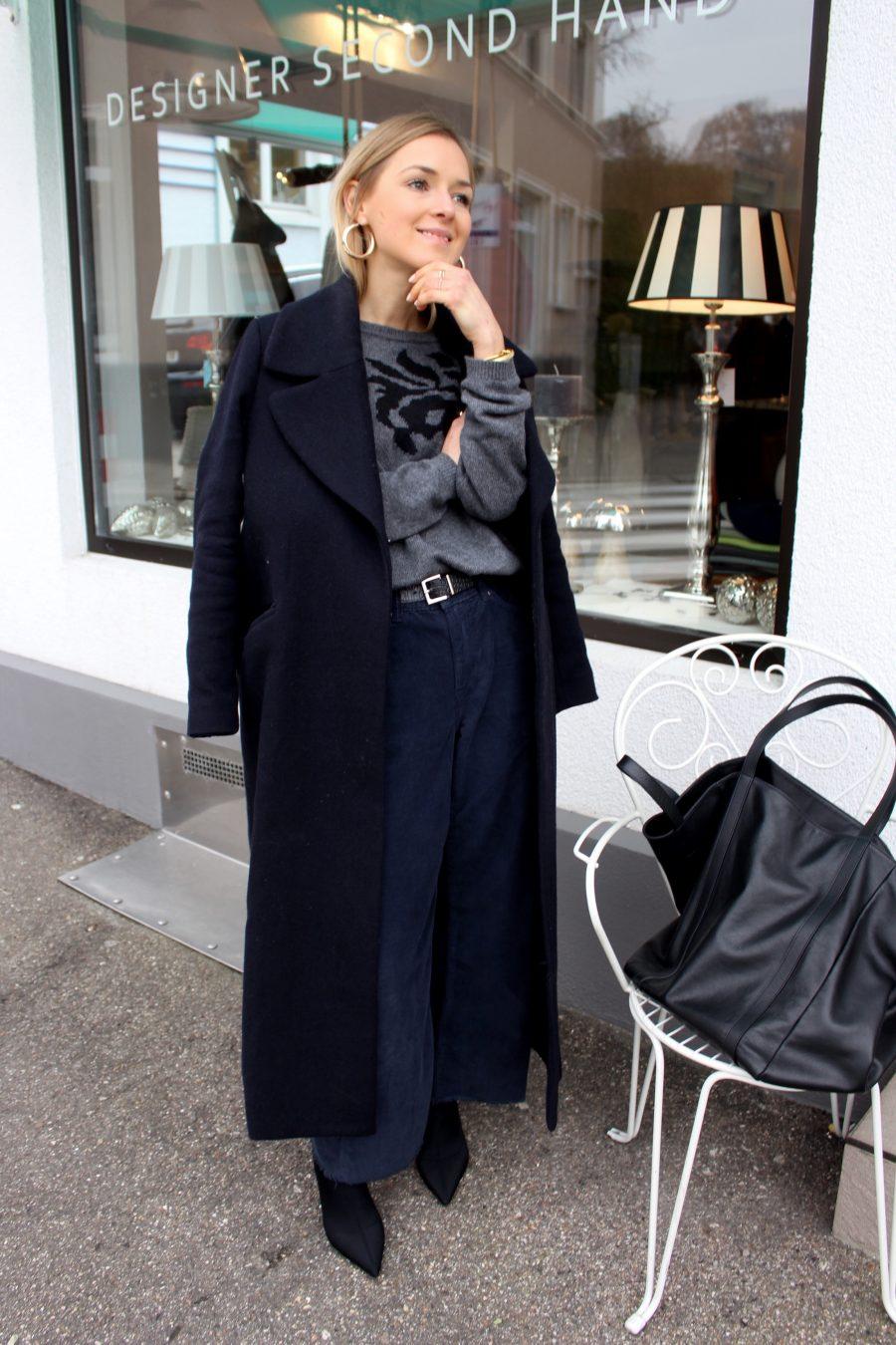 blue statement coat H&M