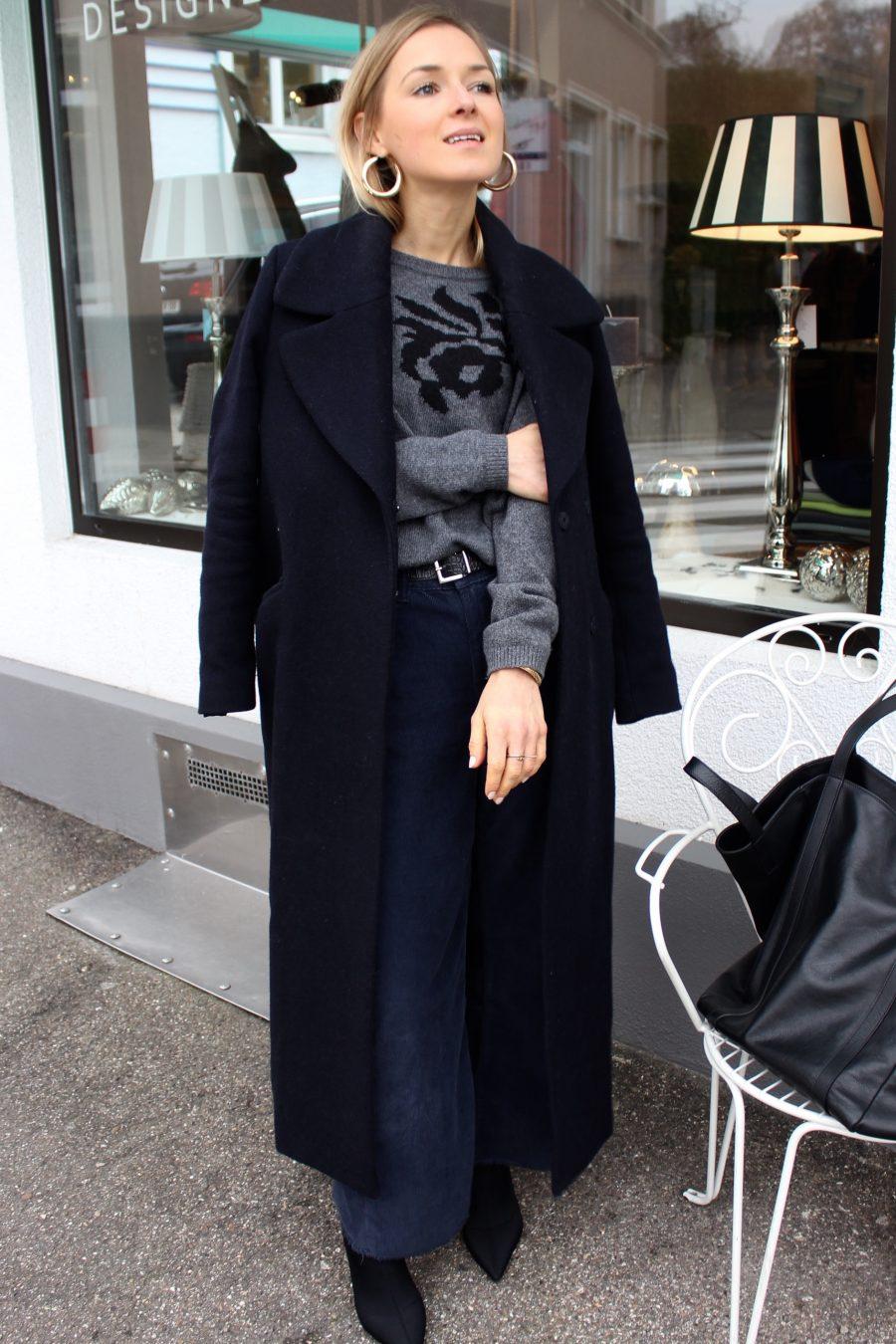 Coat oversized navy blue