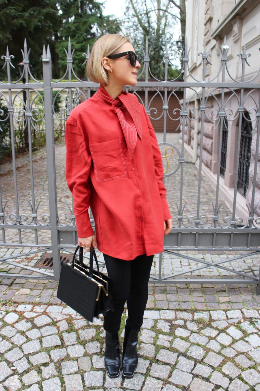 mango committed shirt red new collection 2018