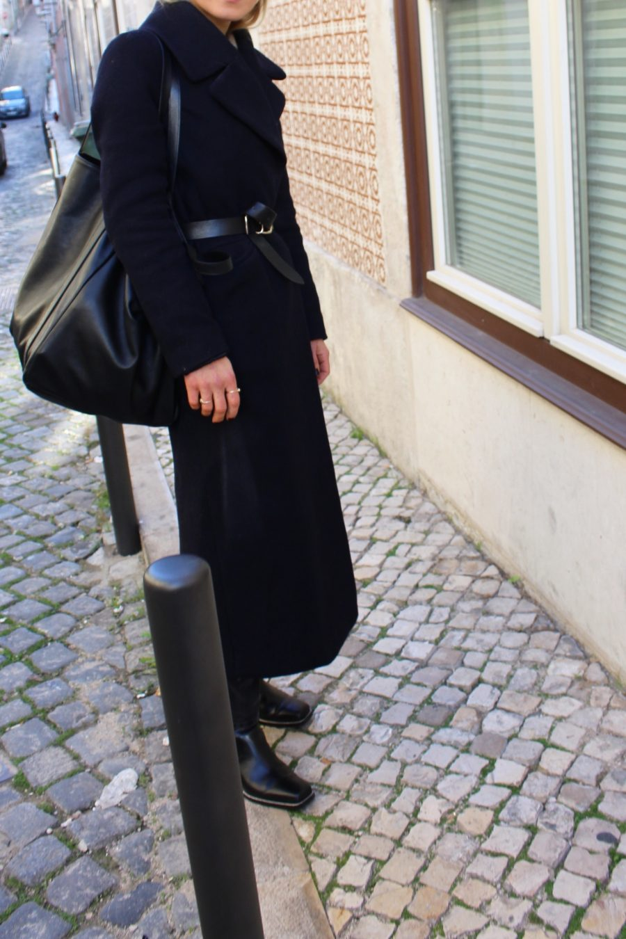 blue coat H&M oversized with belt