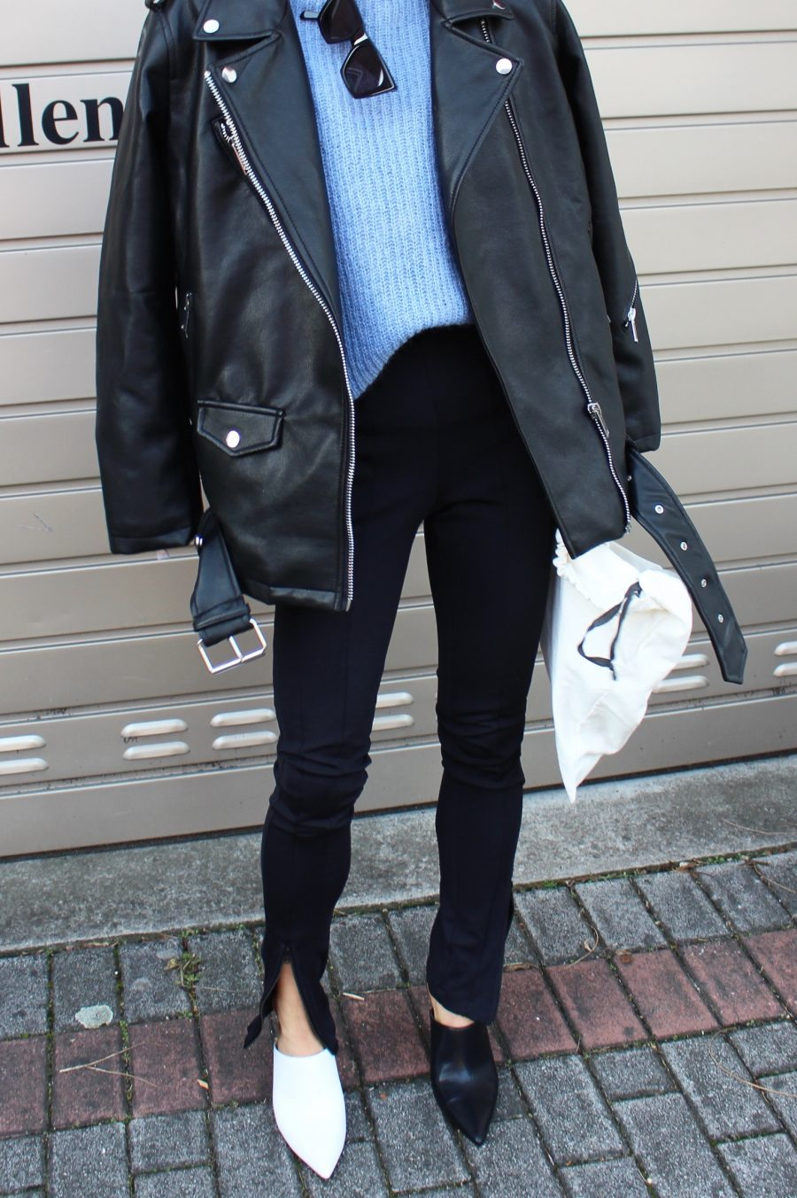 Biker jacket oversized mango black
