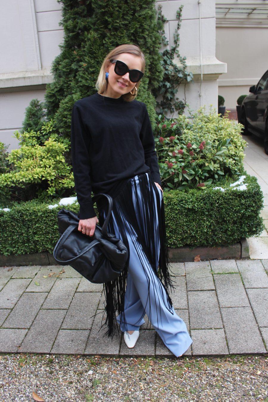 fringe sweater black