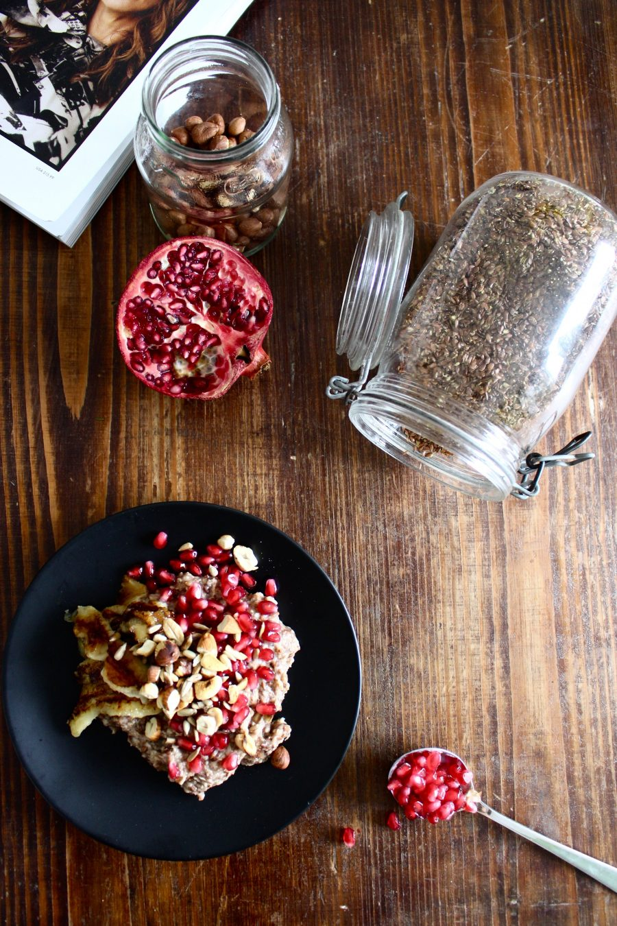 Porridge with fried Bananas & Pomegranate