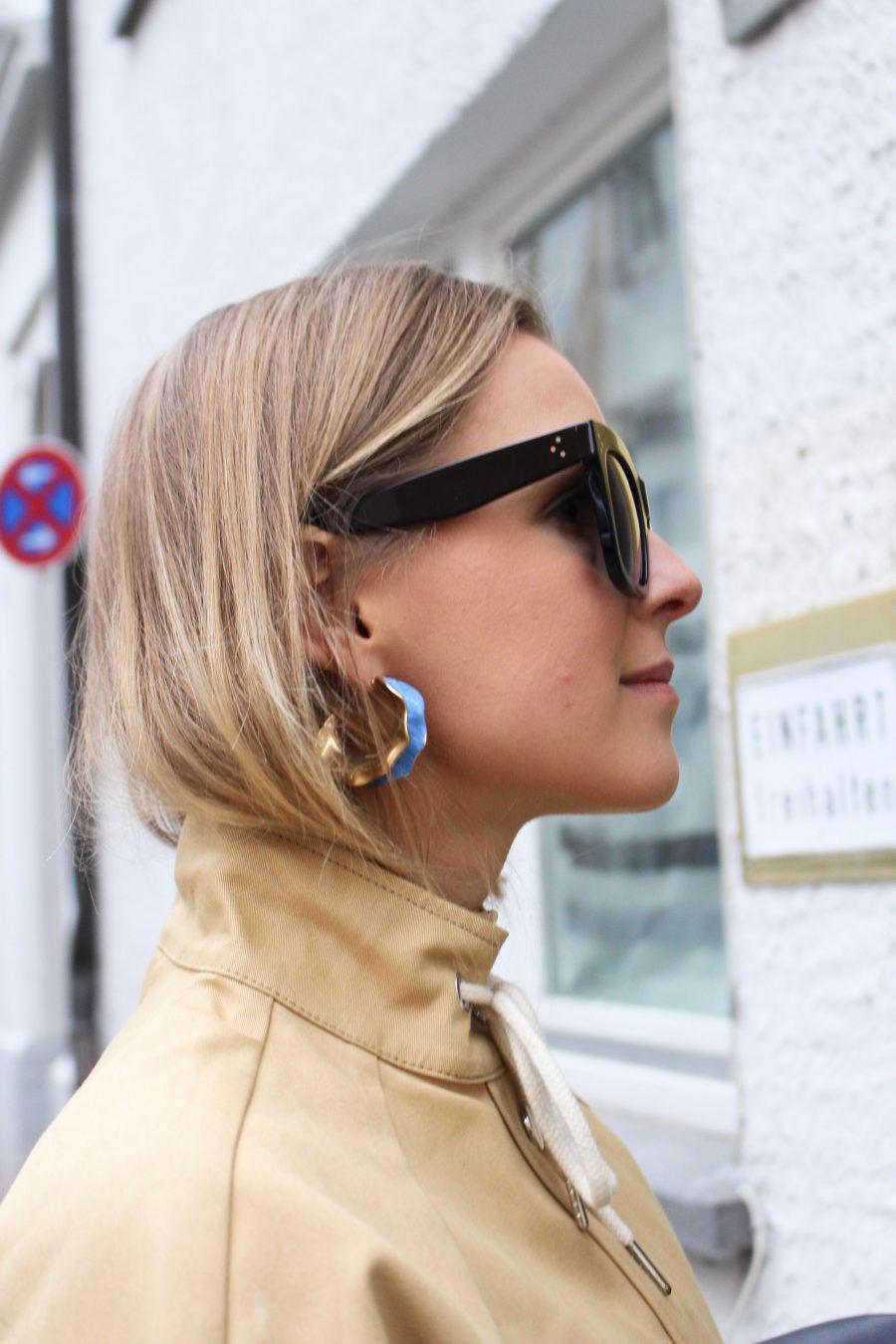Céline earrings gold blue