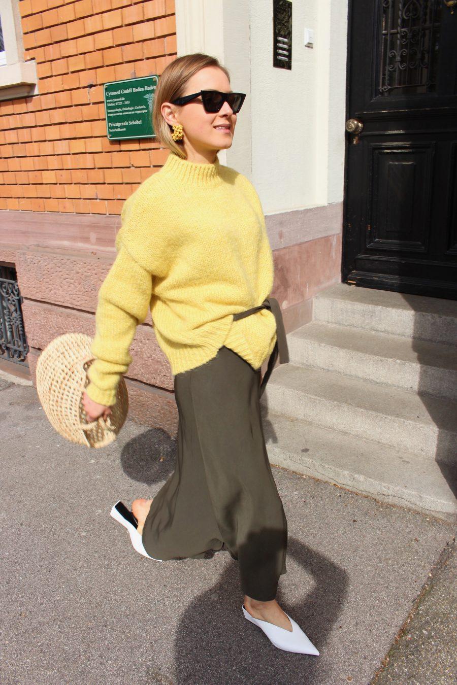 Massimo Dutti Skirt green summer 2018