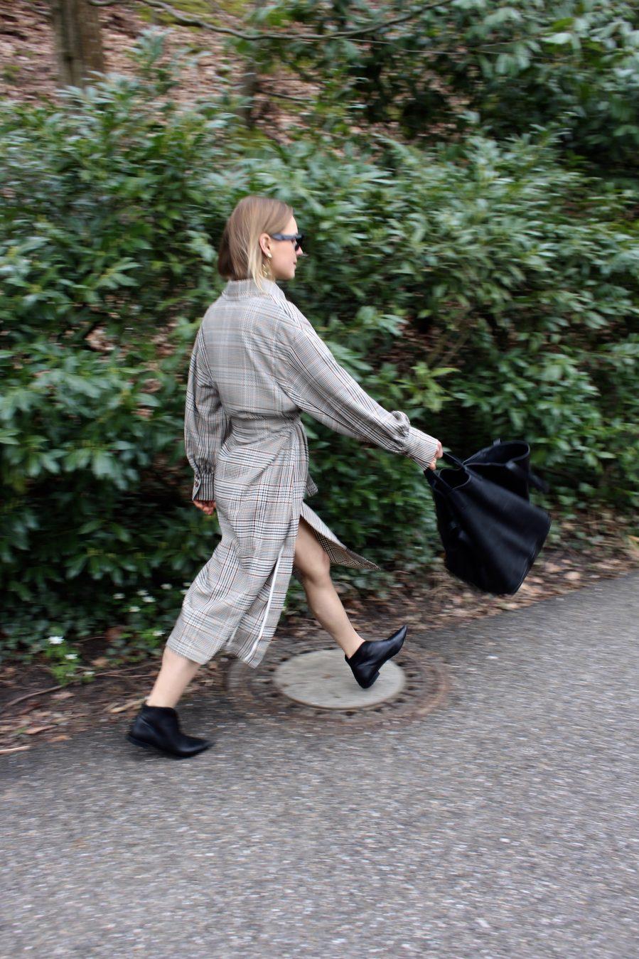houndstooth pattern dress coat