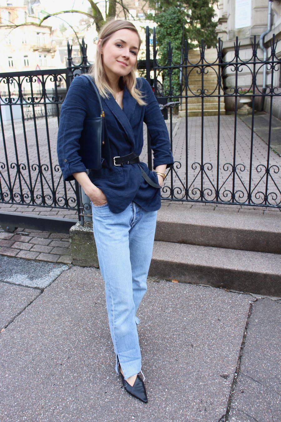 linen blazer zara blue