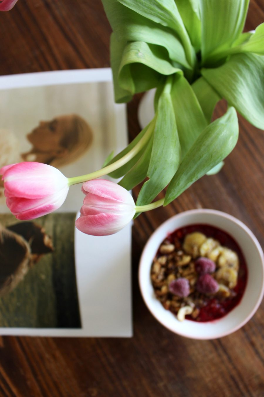 Schoko-Bananen Himbeeren Bowl