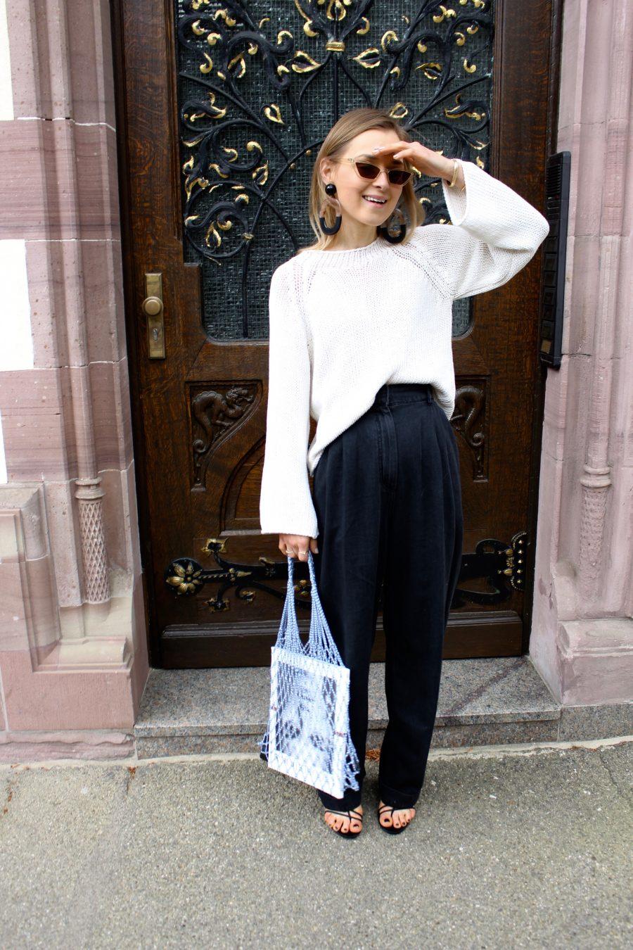 Wide pants H&M Trend black grey