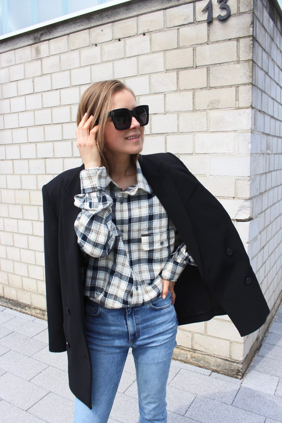 oversized blazer other stories black