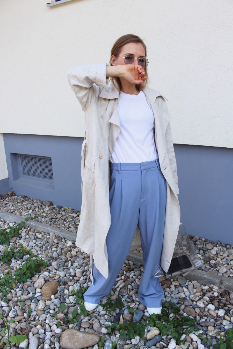 wide pants zara blue
