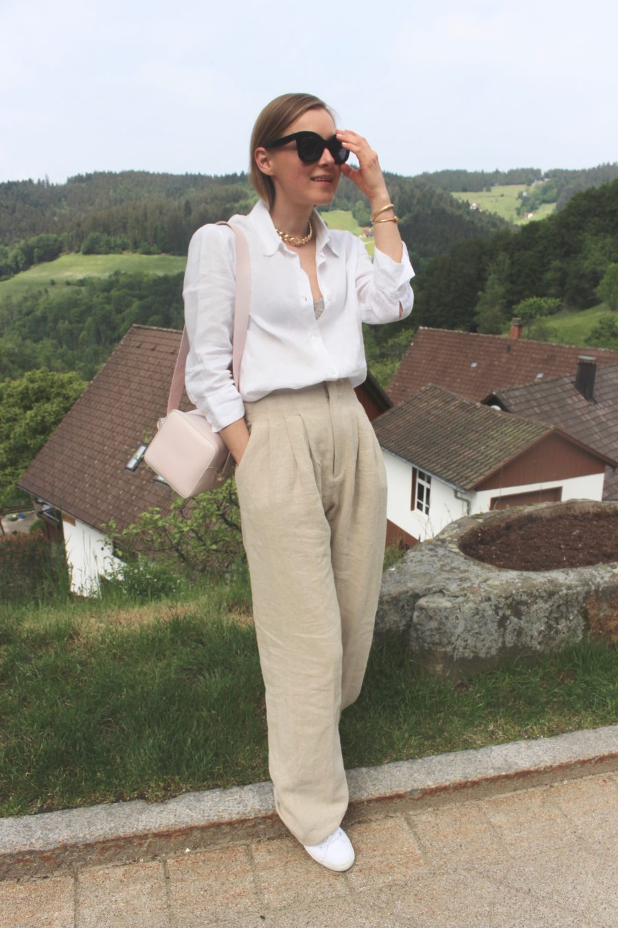 linen bluse Zara white