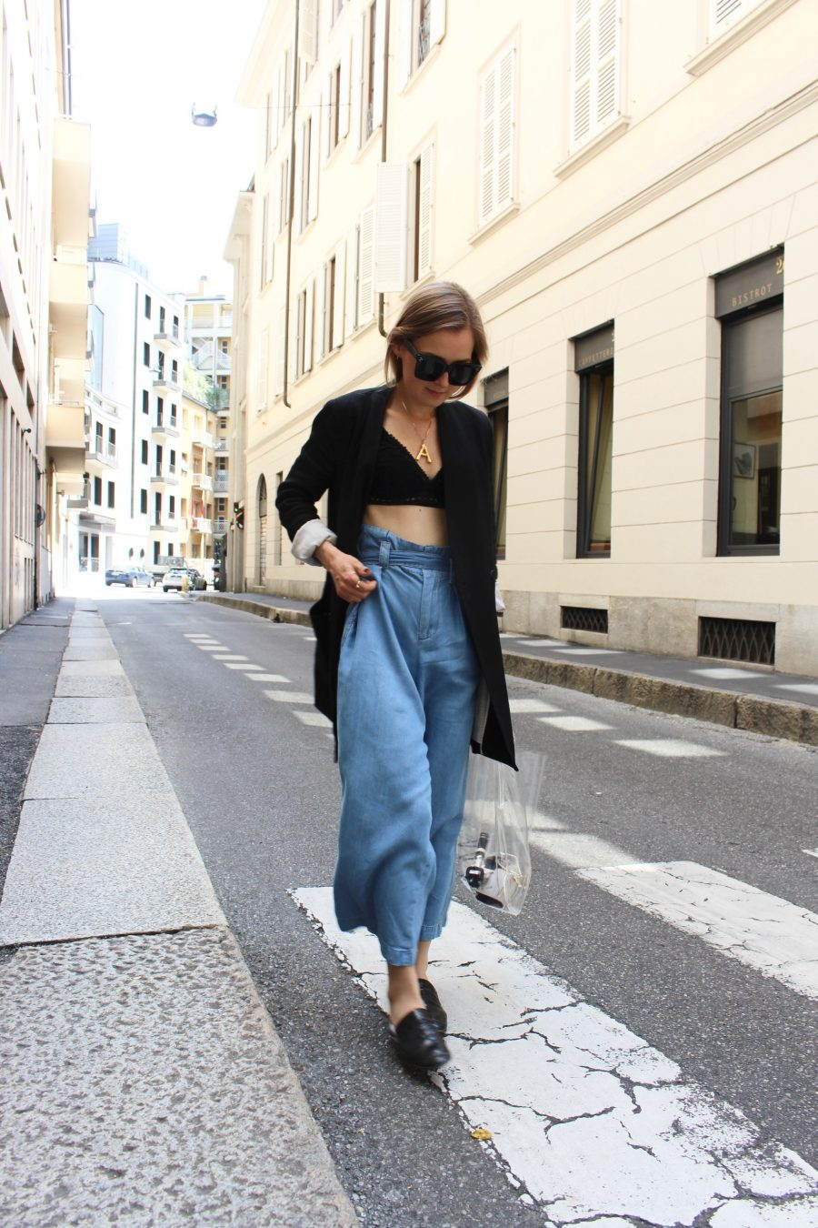 high waisted pants blue