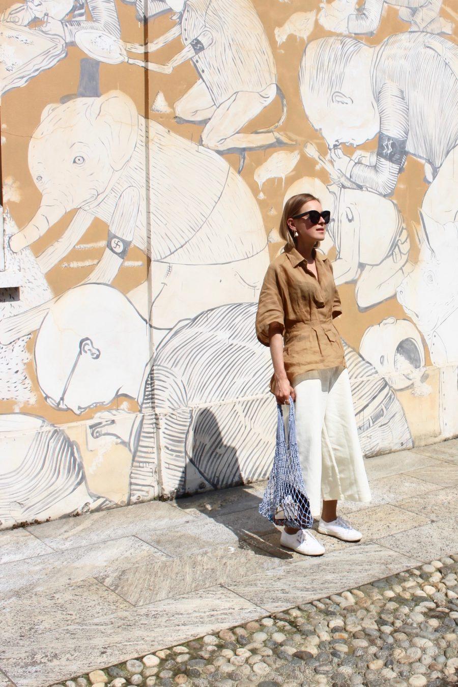 white beige linen pants finery london