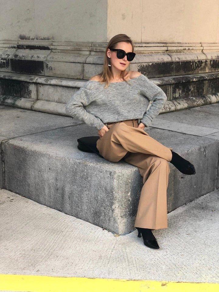off shoulder sweater grey sézane