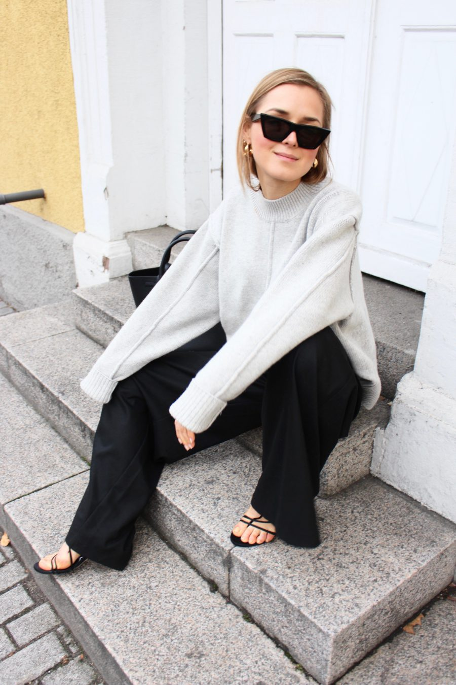 wide trousers black H&M trend