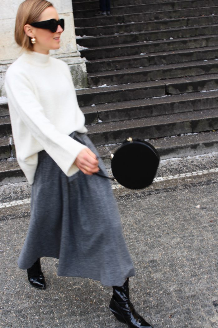 mango grey skirt wool