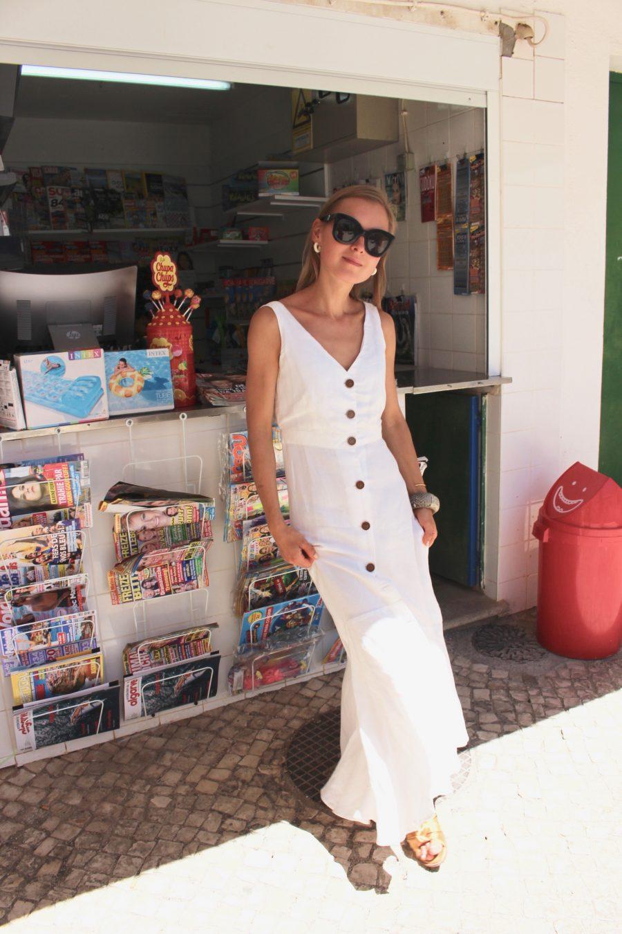 long maxi dress mango white