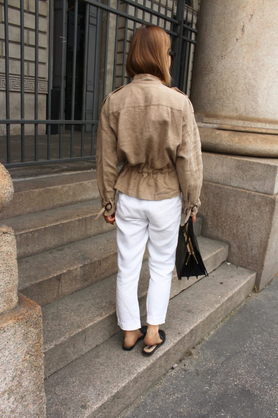 leinen pants white massimo dutti