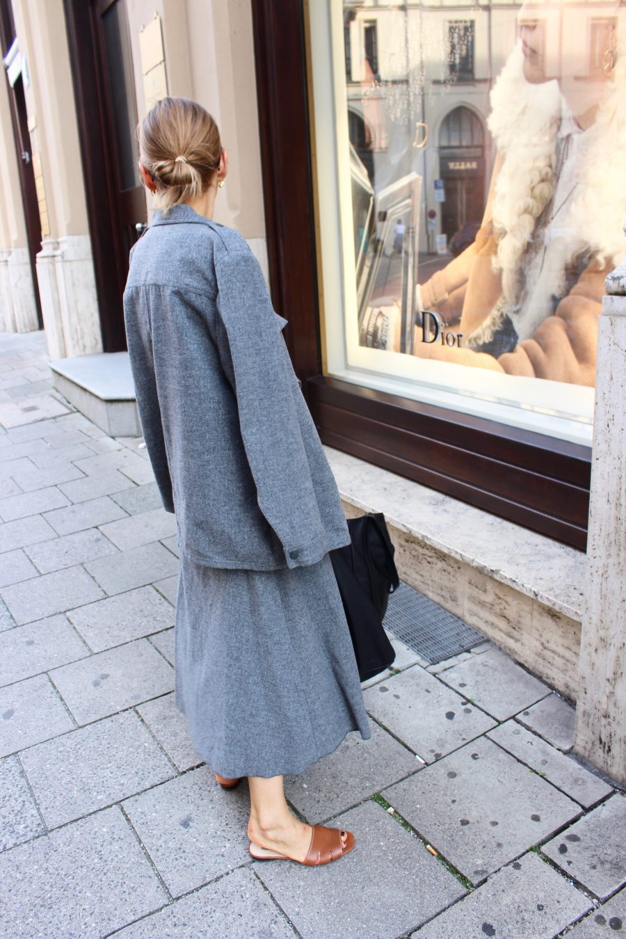 mango wool skirt and shirt grey mango new now