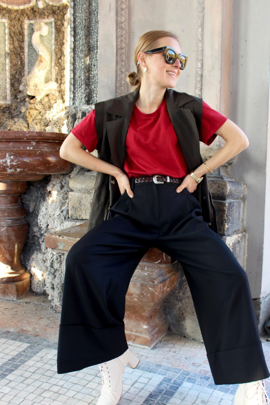Massimo Dutti Wide Pants Black