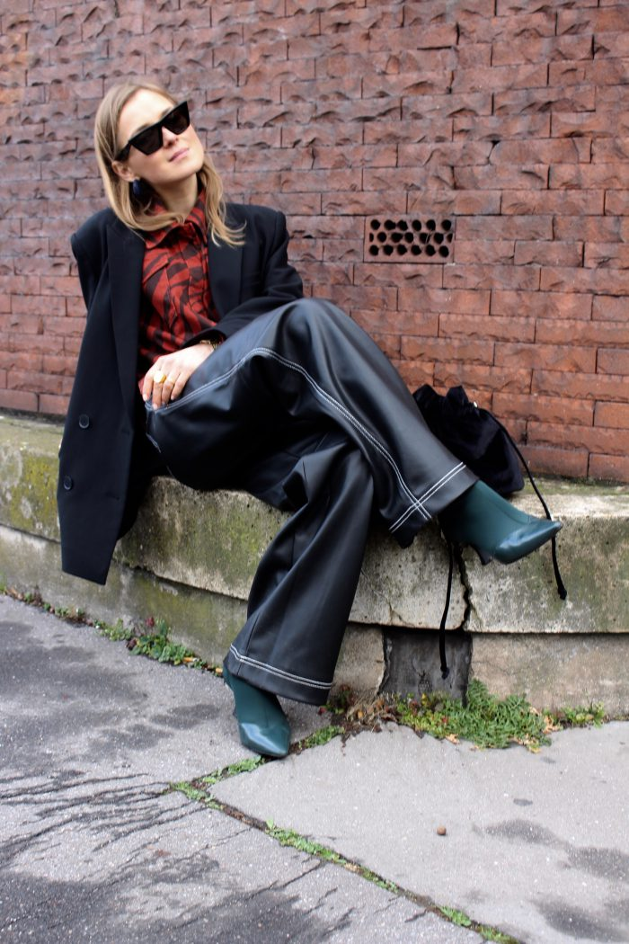 wide leather pants zara new collection