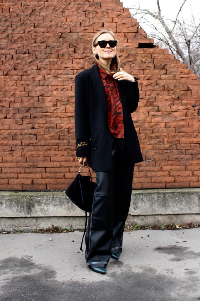 black wideleather trousers zara new collection