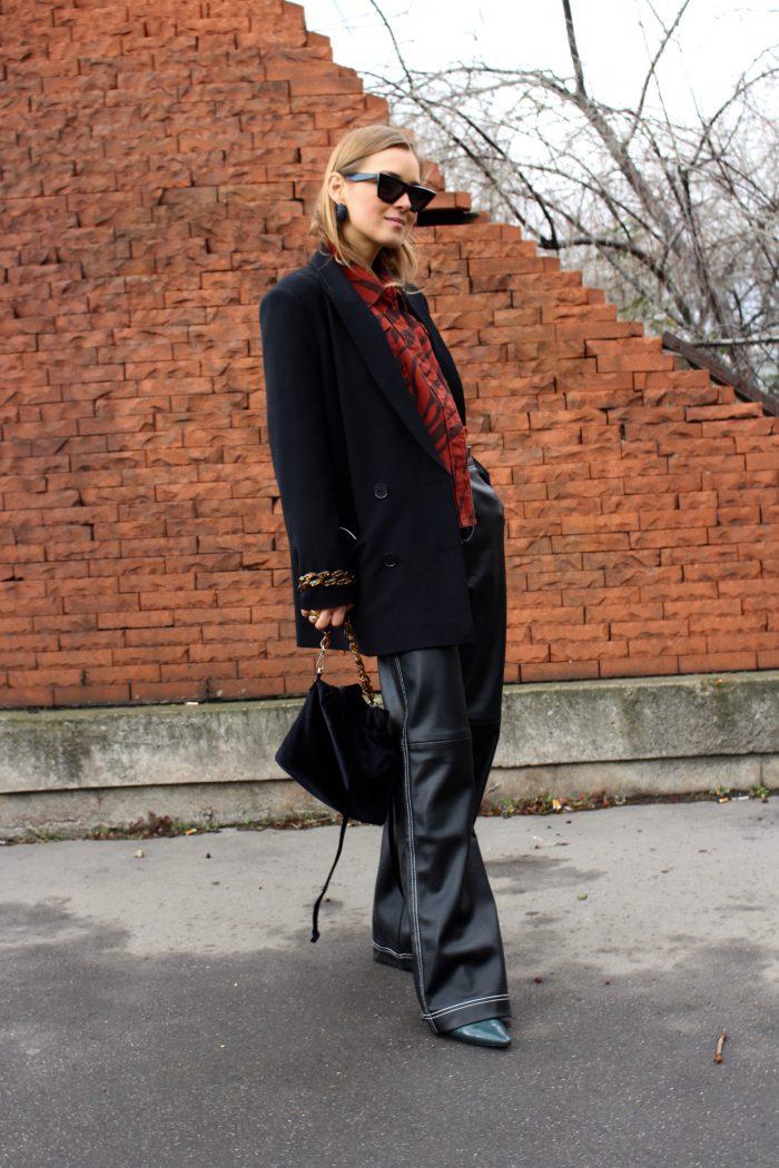wide leather pants women