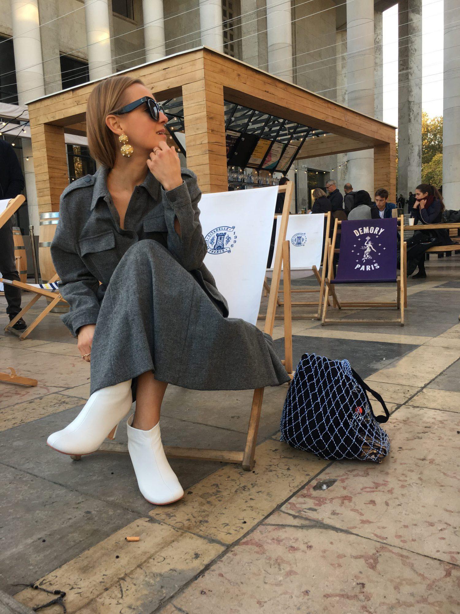 Celine white boots fashion blogger