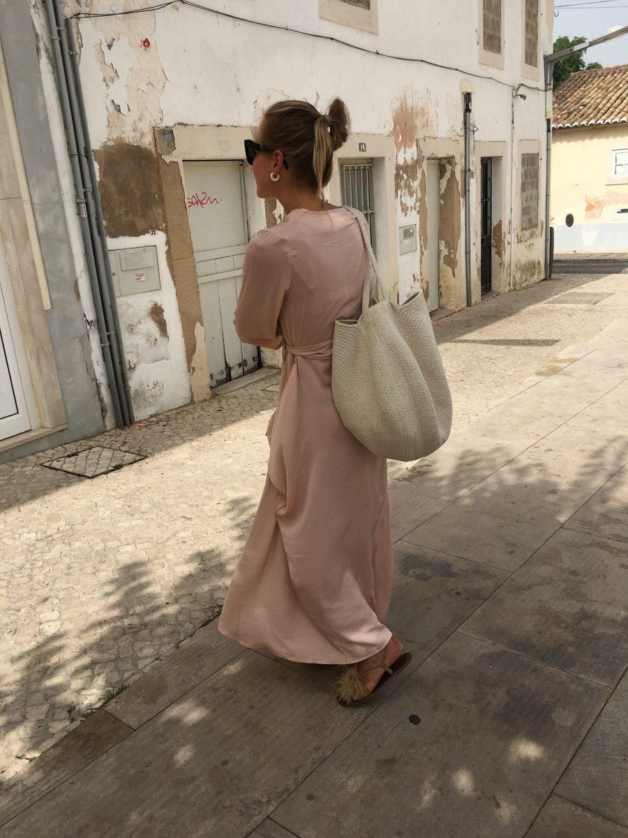 Silk dress powder pink H&M Trend online