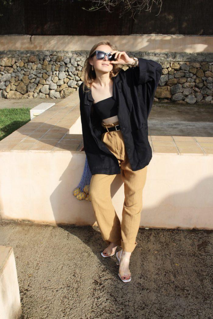 Caramel linen trousers H&M trend